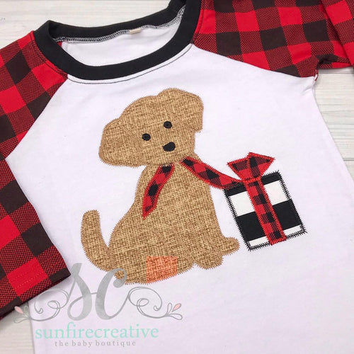 Christmas Puppy Shirt - Plaid Raglan Shirt