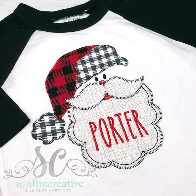 Buffalo Plaid Santa - Santa Shirt - Sunfire Creative Baby Boutique