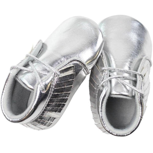 Silver Moccasin Shoes for Baby Girls