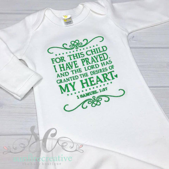 For this Child I have Prayed Baby Gown
