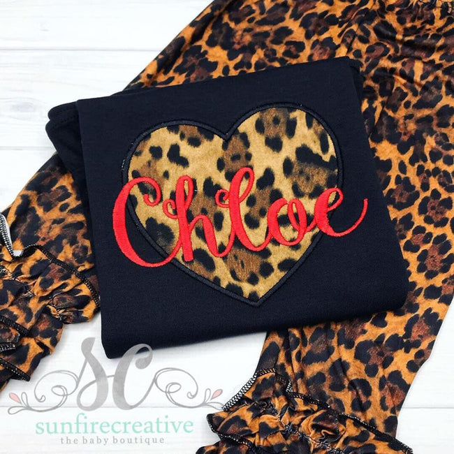 Black Leopard Heart Shirt with Optional Leopard Icing Leggings - Sunfire Creative Baby Boutique