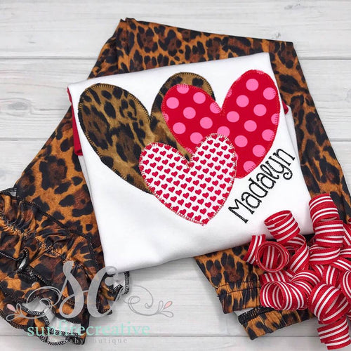 Leopard Heart Shirt - Personalized Valentine Outfit