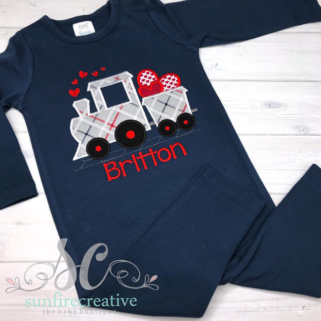 Boy Valentine Train Outfit - Sunfire Creative Baby Boutique