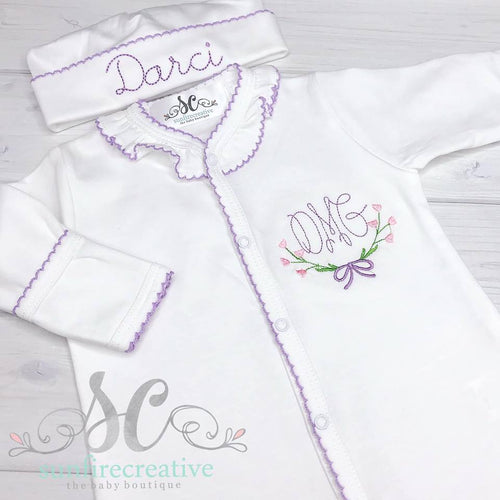White and Lavender Footed Sleeper - Baby Girl Outfit