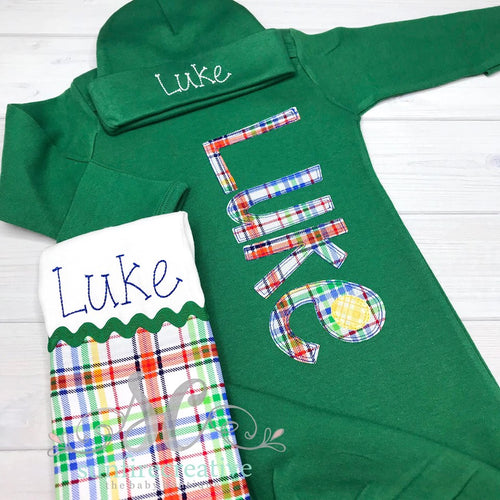 Green Baby Boy Gown - Coming Home Outfit