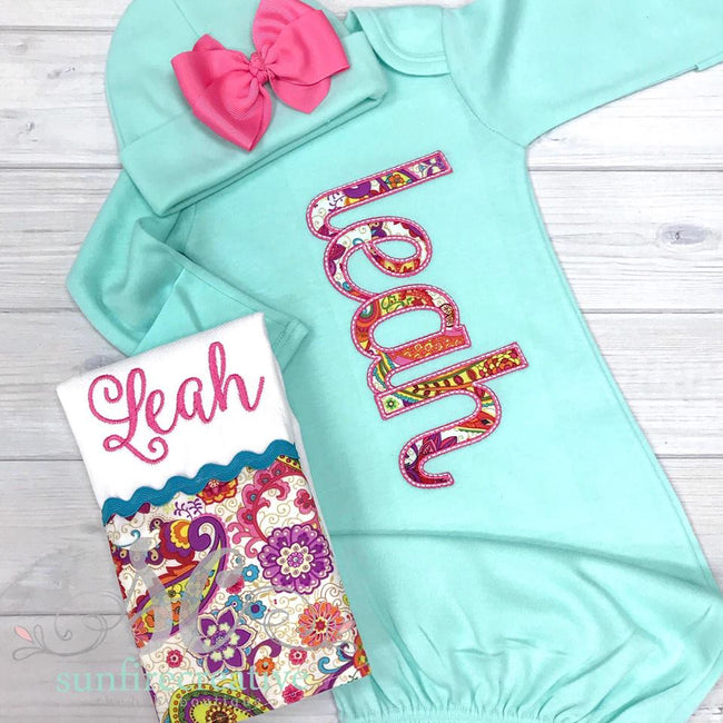Bright Paisley Baby Gown - Sunfire Creative Baby Boutique