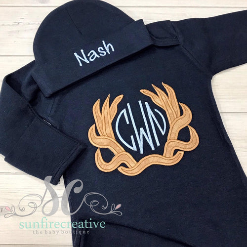 Navy Monogrammed Antlers Outfit