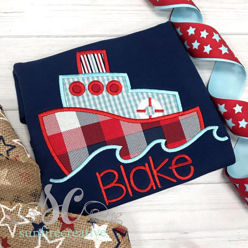 Red White and Blue Ship Shirt