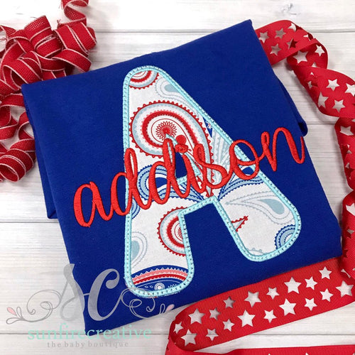 Red, White and Blue Initial Shirt