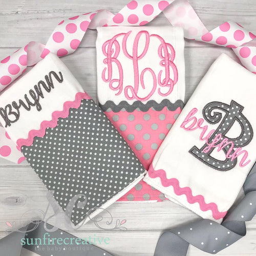 Girl's Personalized Burp Cloths - Burp Cloth Set