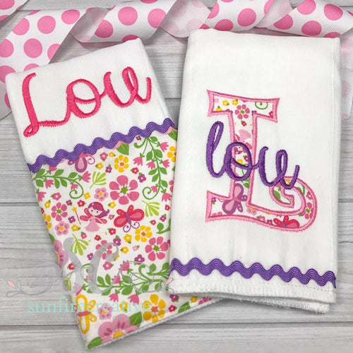 Baby Girl Burp Cloth Gift Set - Burp Cloth