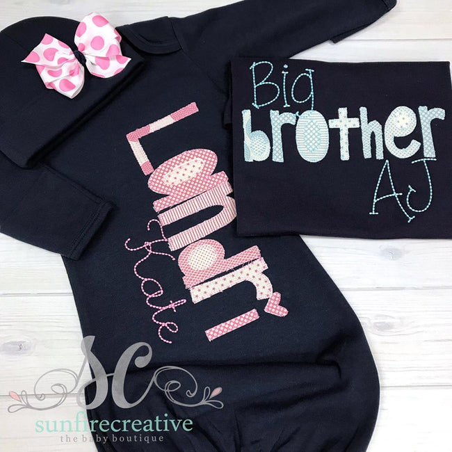 Big Brother Shirt - Little Sister Gown - Sunfire Creative