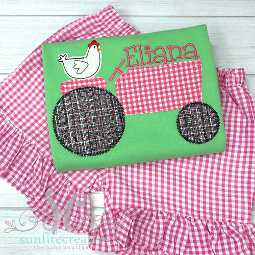 Farm Girl Outfit - Chicken and Tractor Shirt