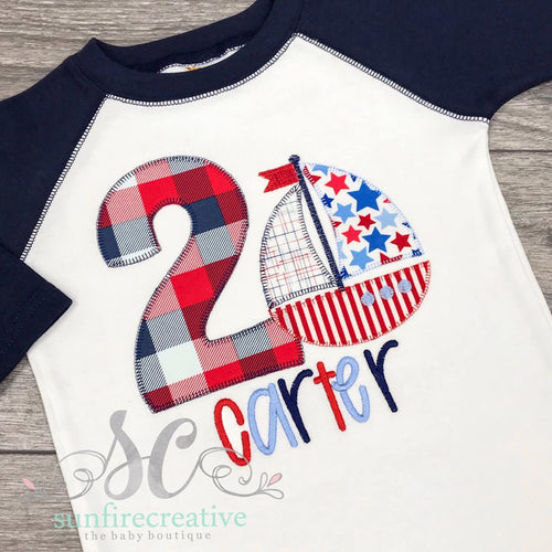 Sailboat Birthday Shirt - Number Shirt