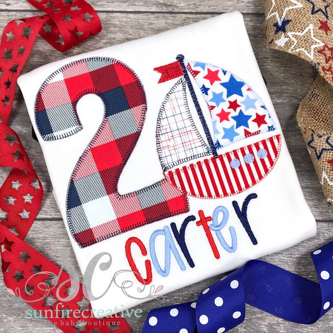 Sailboat Birthday Shirt - Number Shirt - Sunfire Creative Baby Boutique