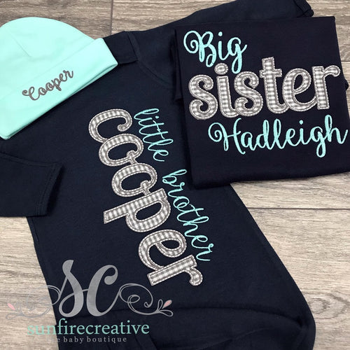 Big Sister Shirt - Little Brother Gown - Sibling Set