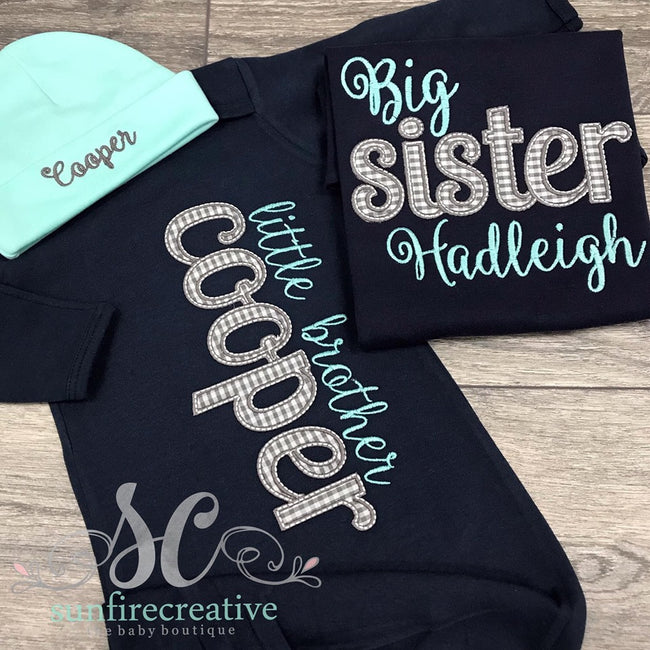 Big Sister Shirt - Little Brother Gown - Sibling Set - Sunfire Creative