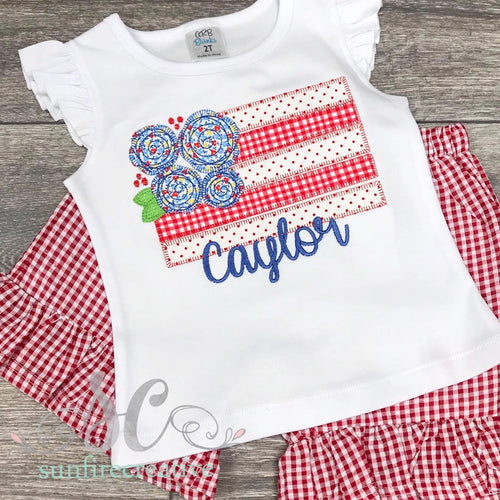Floral Flag Shirt - 4th of July Shirt