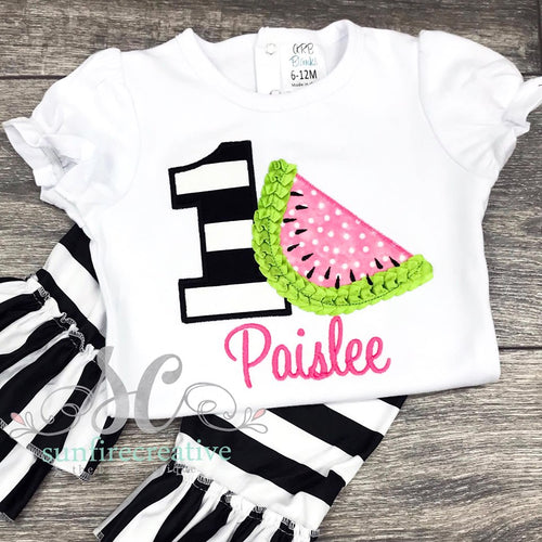 Watermelon Birthday Outfit - Girls Birthday Shirt