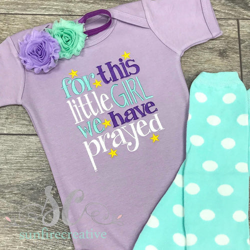 For this little Girl we have Prayed Baby outfit