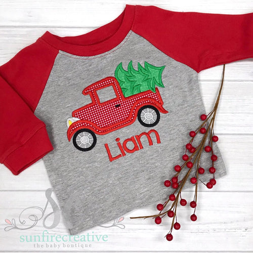 Christmas Shirt for Boy's - Truck Christmas Shirt