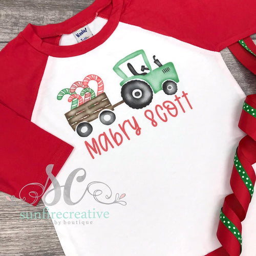 Christmas Tractor Shirt - Printed Christmas Shirt - DTG