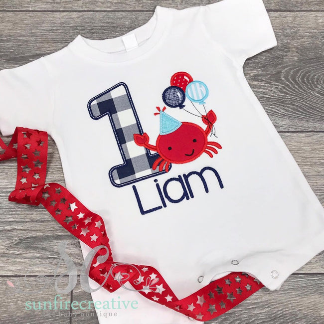 Crab Birthday Romper - Birthday Crab Outfit - Sunfire Creative Baby Boutique