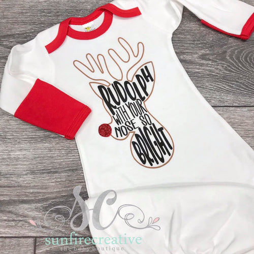 Rudolph Printed Baby Gown - DTG