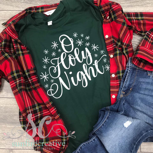O' Holy Night Printed Forest Green Shirt - DTG