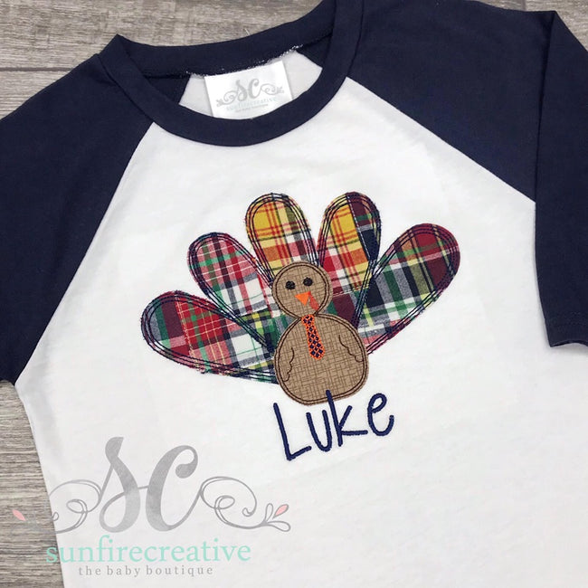 Madras Plaid Turkey Shirt - Thanksgiving Shirt - Sunfire Creative Baby Boutique