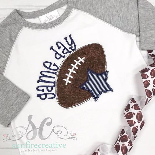 Navy and Gray Football Raglan