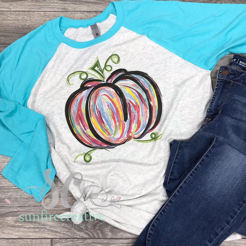 Colorful Pumpkin Shirt for Adults - Fall Pumpkin Shirt - DTG