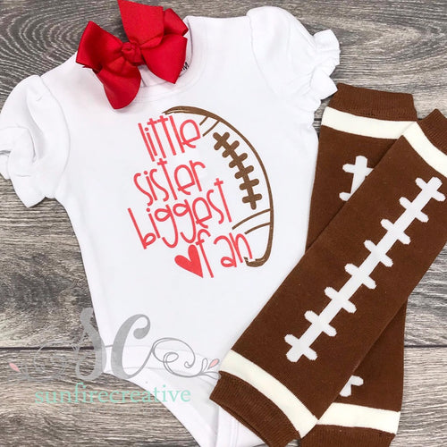 Little Sister Biggest Fan Football Set - Football Printed Outfit - DTG