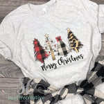 Plaid & Leopard Christmas Tree Shirt DTG - Adult Printed Shirt