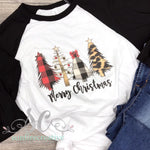 Buffalo Plaid & Leopard Christmas Tree Raglan DTG