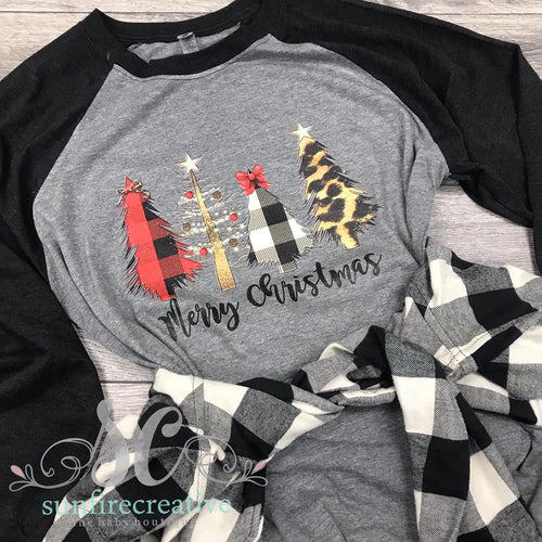 Plaid & Leopard Christmas Tree Raglan DTG