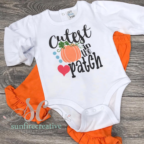 Cutest Pumpkin in the Patch Outfit - Ruffle Onesie and Pants - DTG