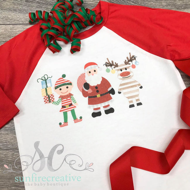 Printed Christmas Raglan Shirt - DTG - Sunfire Creative Baby Boutique