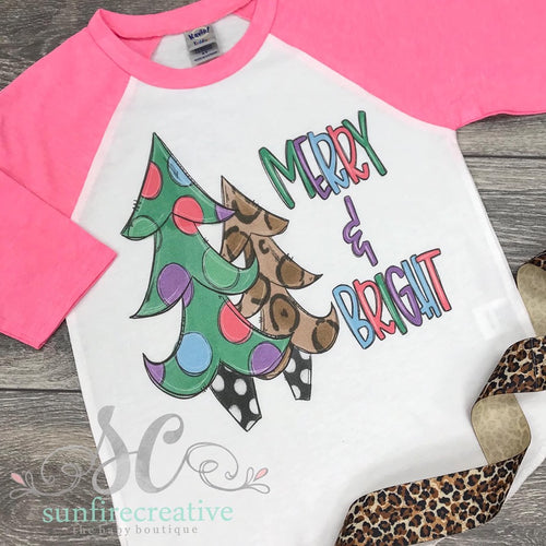 Merry and Bright Printed Christmas Shirt - DTG
