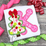 Pink and Green Christmas Shirt - Girls Christmas Outfit