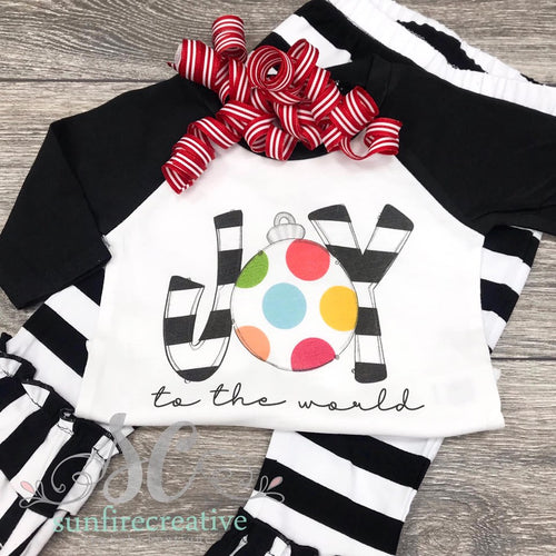 JOY to the World Black Raglan with Optional Pants - DTG Printed Shirt