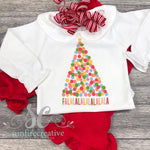 Girls Christmas Tree Outfit - Printed Christmas Outfit