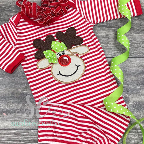 Reindeer Newborn Gown - Baby Christmas Outfit