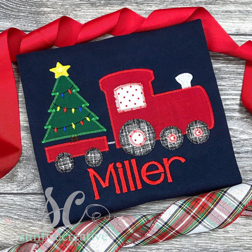 Navy Christmas Train Shirt