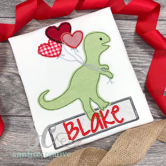 Valentine Dinosaur with Heart Balloons - Sunfire Creative Baby Boutique