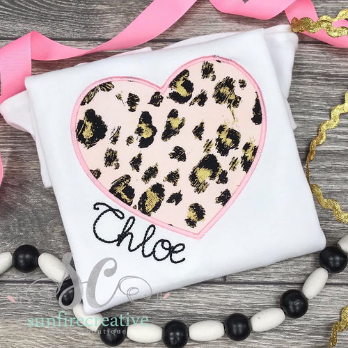 Pink and Gold Leopard Heart