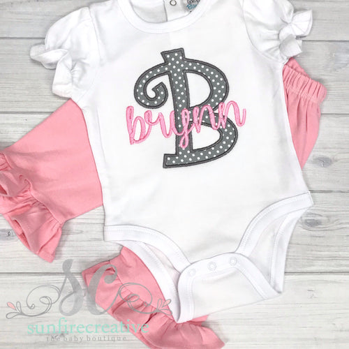 Pink and Gray Monogrammed Set