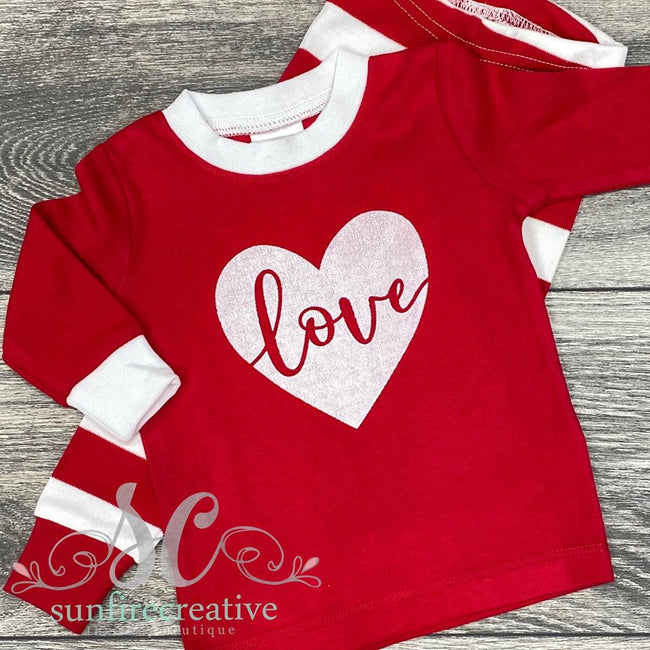 Red and White LOVE Pajamas - Sunfire Creative Baby Boutique