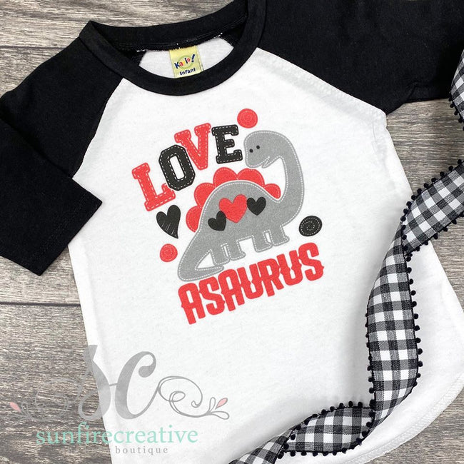 Love-A-Saurus Dinosaur Valentine Shirt - Matching Adult & Kid - DTG - Sunfire Creative Baby Boutique