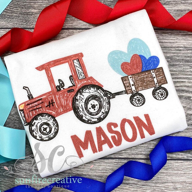 Valentine Tractor Shirt - DTG - Sunfire Creative Baby Boutique